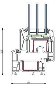 Схема профиля rehau intelio 80